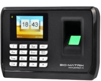 Sistem de pontaj și control acces cu card, cod sau amprenta